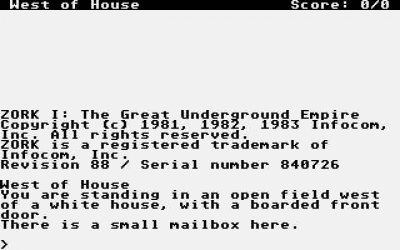 Screen ze hry ZORK I: The Great Underground Empire