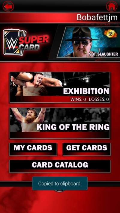 Screen ze hry WWE SuperCard