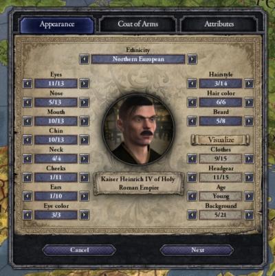 Screen ze hry Crusader Kings II: Ruler Designer