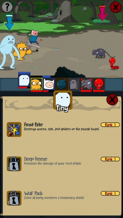 Screen ze hry Adventure Time Puzzle Quest