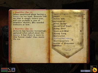 Screen Elder Scrolls III: Morrowind, The