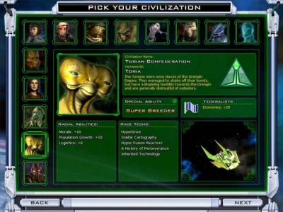 Screen ze hry Galactic Civilizations II: Twilight of the Arnor